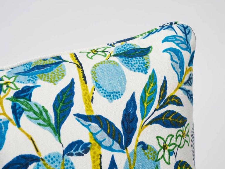 Contemporary Schumacher Citrus Garden Josef Frank Linen Pool Blue Two-Sided Pillows, Pair For Sale