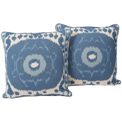 "Schumacher Samarkand Ikat II Porcelain Blue Two-Sided 20"" Pillow, Pair"