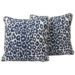 "Schumacher Iconic Leopard Animal Print Ink Blue Two-Sided 18"" Linen Pillows,Pair"