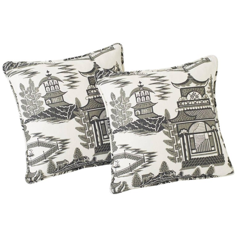 """Schumacher Nanjing Chinoiserie Smoke Grey Two-Sided 18"""" Linen Pillows, Pair For Sale"""