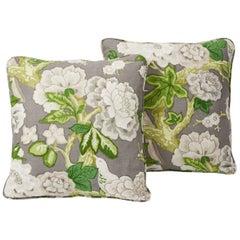 """Schumacher Mary McDonald Bermuda Blossoms Floral 18"""" Linen Pillows, Pair - Jet"""
