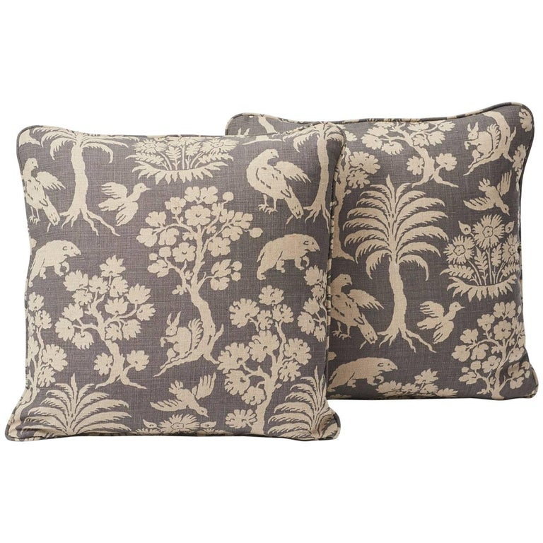 "Schumacher Woodland Silhouette Slubbed Linen Gray Two-Sided 18"" Pillows, Pair"