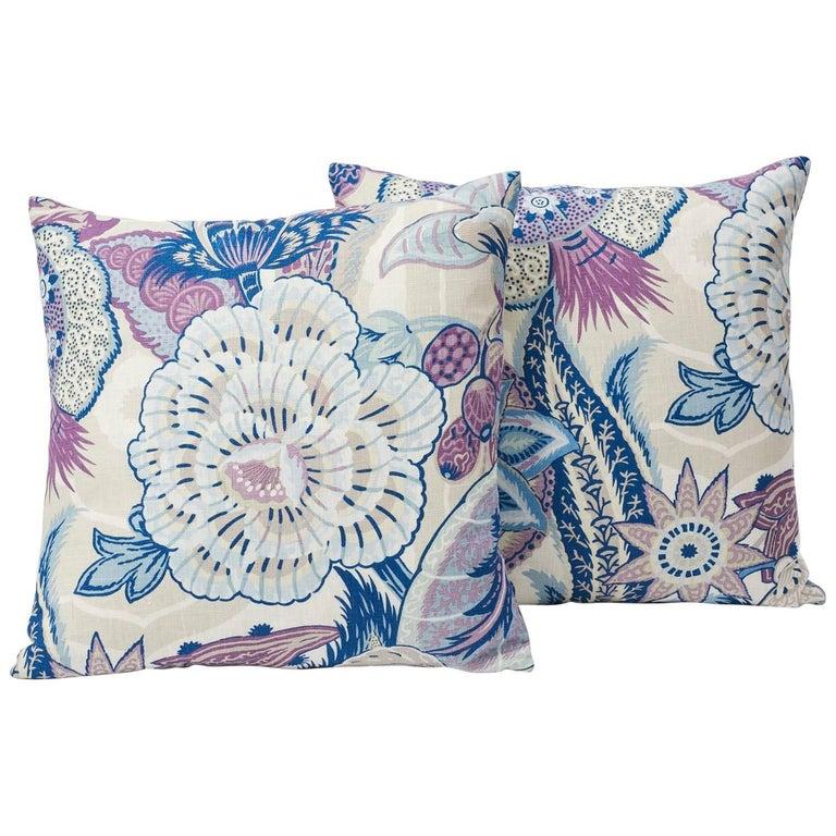 """Schumacher Zanzibar Linen Floral Hyacinth Purple Two-Sided 18"""" Pillows, Pair"""