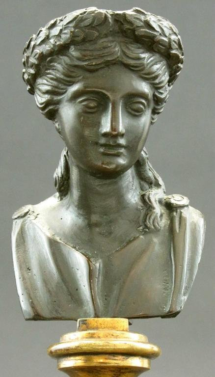 Classical Greek Pair of Grand Tour Style Miniature Classical Bronze Busts, Circa 1900 For Sale