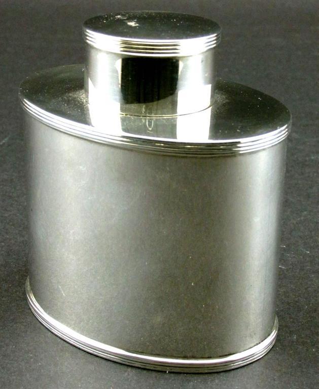 George III Georgian Style Sterling Silver Tea Caddy by Asprey, Hallmarked London, 1908 For Sale
