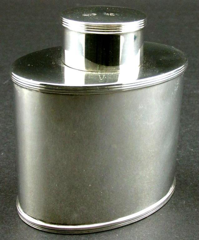 English Georgian Style Sterling Silver Tea Caddy by Asprey, Hallmarked London, 1908 For Sale