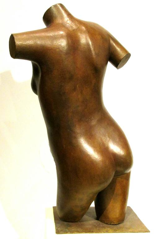 Canadian Post Modernist Nude Bronze Torso Sculpture by George Foster, SSC For Sale