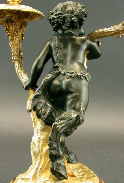 Pair of 19th Century Louis XV Style Patinated & Gilt Bronze Figural Candelabra For Sale 2