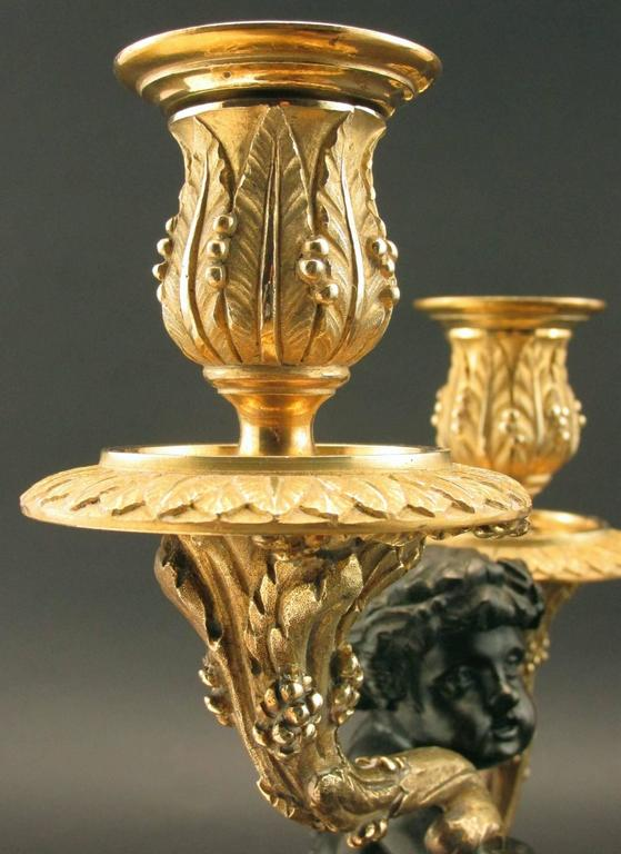 Pair of 19th Century Louis XV Style Patinated & Gilt Bronze Figural Candelabra For Sale 4