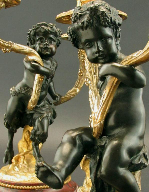 French Pair of 19th Century Louis XV Style Patinated & Gilt Bronze Figural Candelabra For Sale