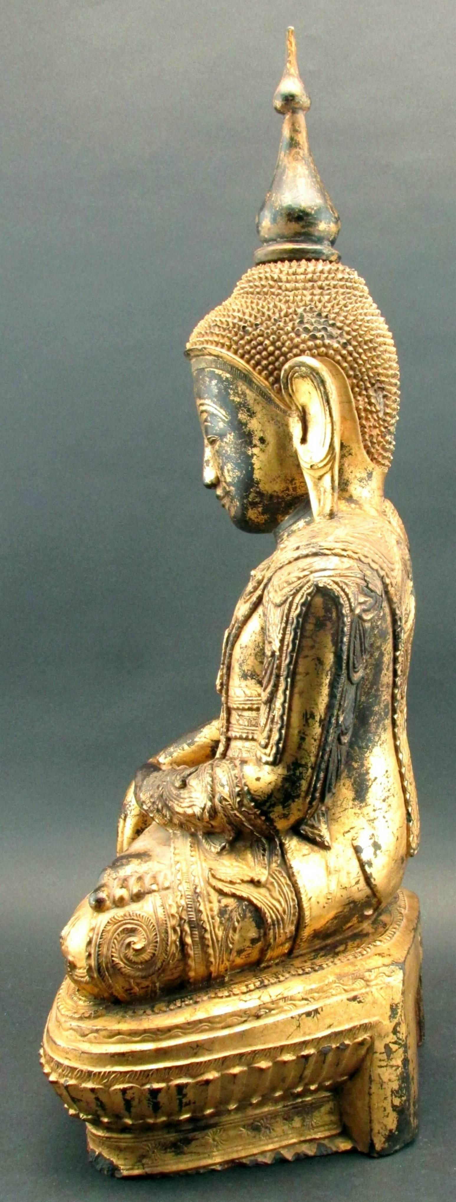 A Finely Carved and Gilded 19th Century Giltwood Burmese Buddha For ...