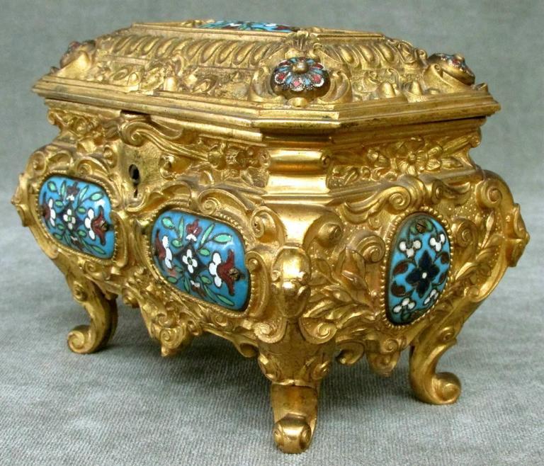 German Early 20th Century Rococo Revival Gilt Bronze & Enamel Jewellery Casket For Sale