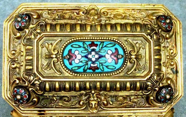 Early 20th Century Rococo Revival Gilt Bronze & Enamel Jewellery Casket For Sale 1