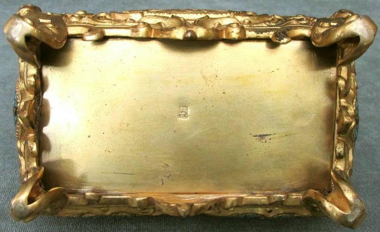 Early 20th Century Rococo Revival Gilt Bronze & Enamel Jewellery Casket For Sale 4