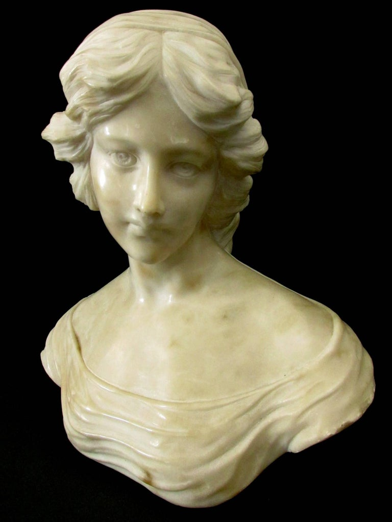 Finely Sculpted Alabaster Portrait Bust Of A Young Woman