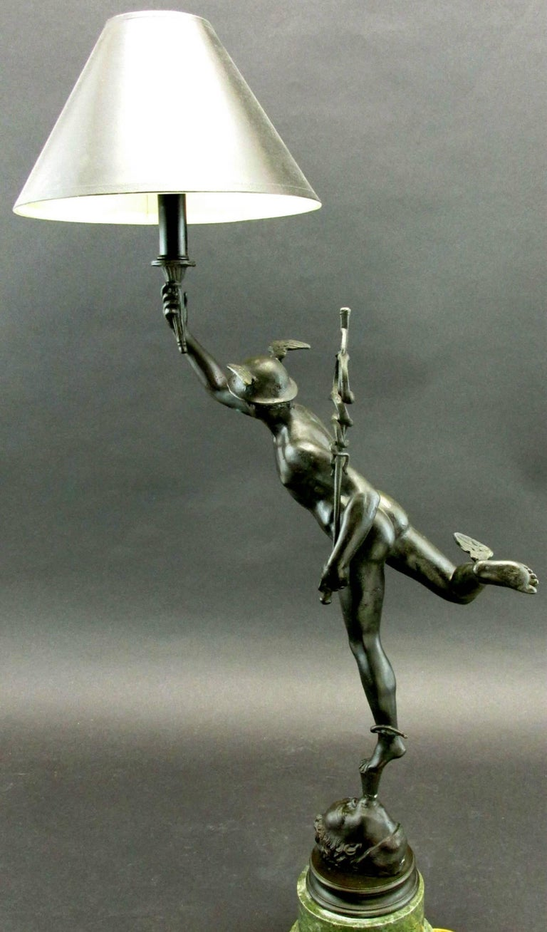 Grand Tour Style Bronze Figure of Mercury Modelled as a Desk Lamp, Circa 1900 In Good Condition For Sale In Ottawa, Ontario