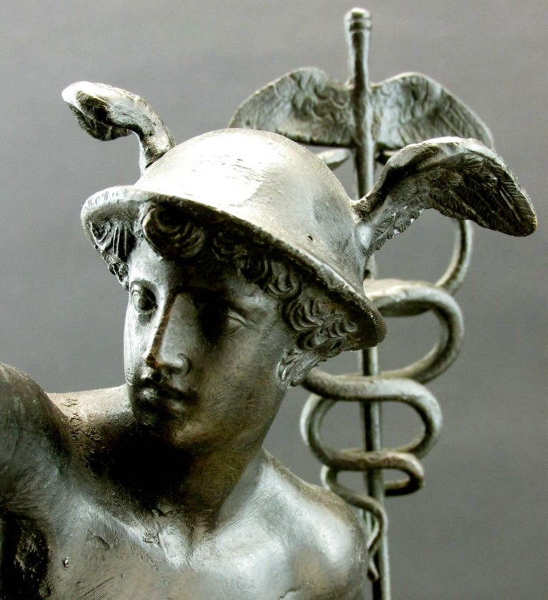 20th Century Grand Tour Style Bronze Figure of Mercury Modelled as a Desk Lamp, Circa 1900 For Sale