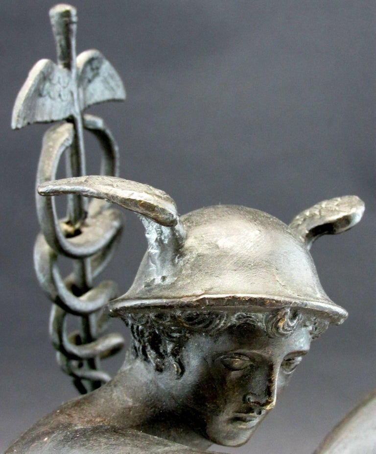 Grand Tour Style Bronze Figure of Mercury Modelled as a Desk Lamp, Circa 1900 For Sale 1