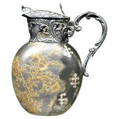 Exceptional French Silver & Daum Glass Wine Ewer / Claret Jug, France Circa 1900