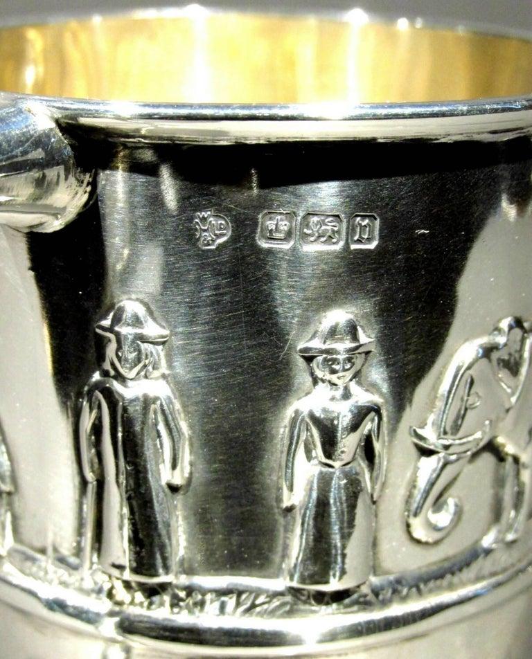 Embossed Sterling Silver Arts & Crafts 'Noah's Ark' Christening Mug, Sheffield 1896 For Sale