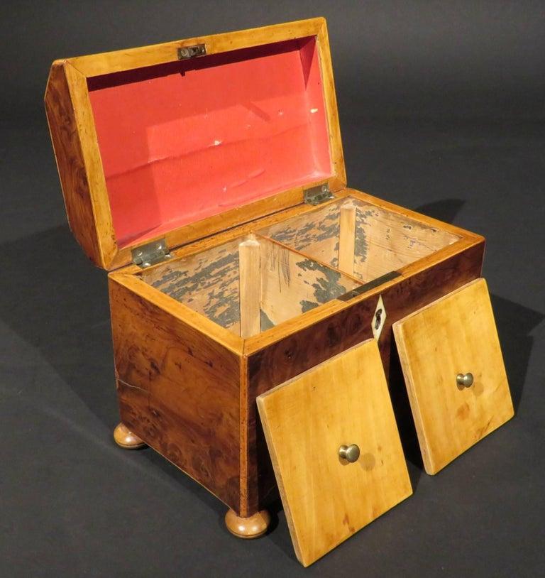 Fine Early 19th Century Georgian Burr Yew Wood Tea Caddy, England Circa 1800 For Sale 1