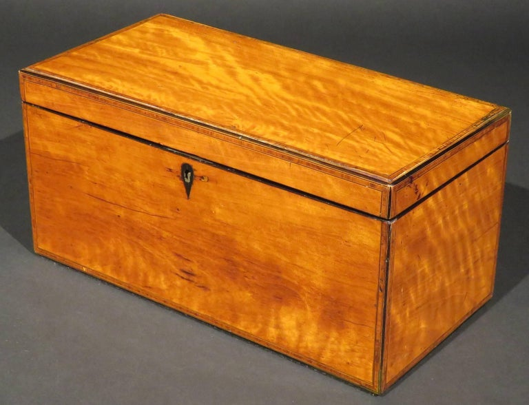The finely grained & figured satinwood case edged with kingwood banding & ebony stringing, the lid opening to reveal a Honduran mahogany panel centred by a conch-shaped marquetry paterae, the interior fitted with twin canisters having partridgewood