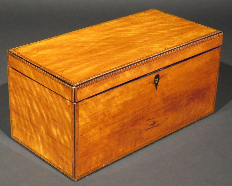 English A Very Fine George III Inlaid Satinwood Tea Caddy, England Circa 1800   For Sale