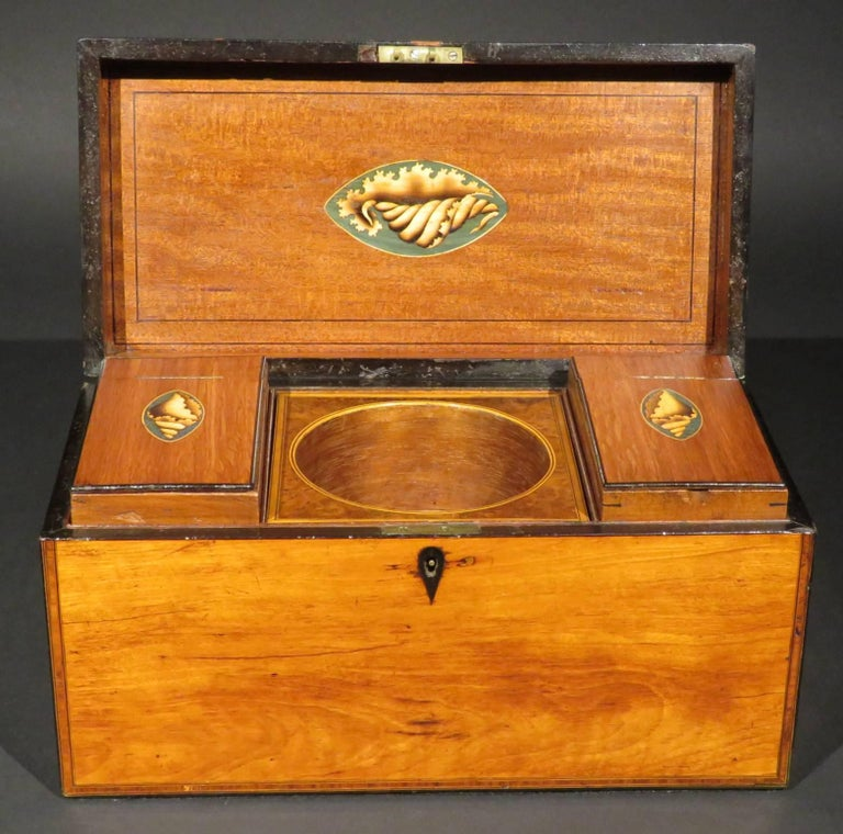19th Century A Very Fine George III Inlaid Satinwood Tea Caddy, England Circa 1800   For Sale