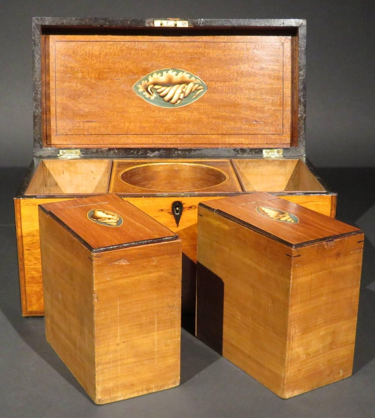 A Very Fine George III Inlaid Satinwood Tea Caddy, England Circa 1800   For Sale 1