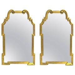 Pair of Italian La Barge Gold Leaf Wood Frame Mirrors