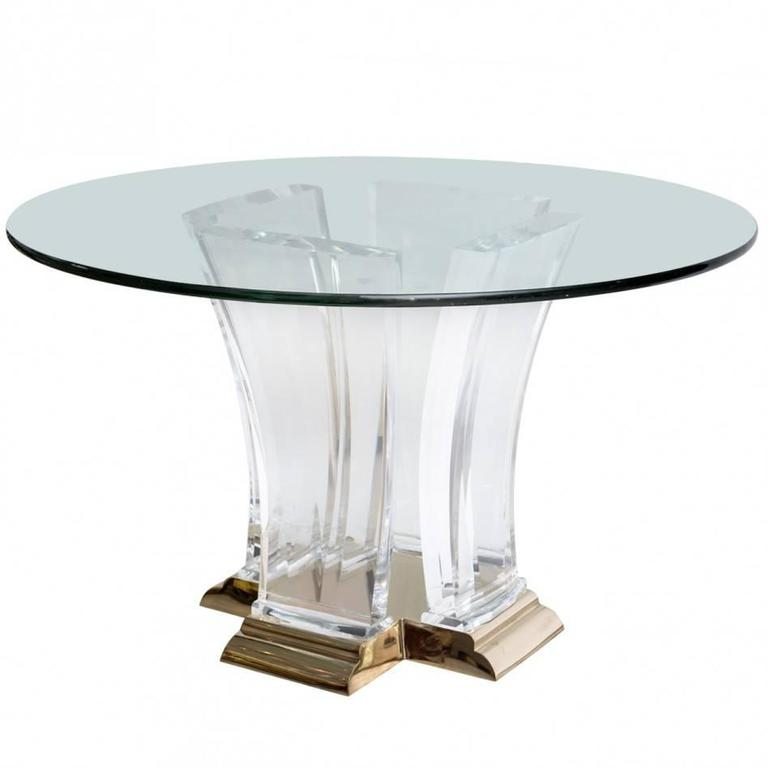 Lucite and Brass Dining Table by Jeffrey Bigelow