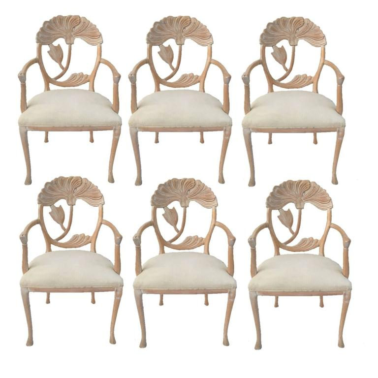 Bon Six Floral Carved Dining Chairs In The Manner Of Phyllis Morris