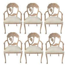 Six Floral Carved Dining Chairs in the Manner of Phyllis Morris