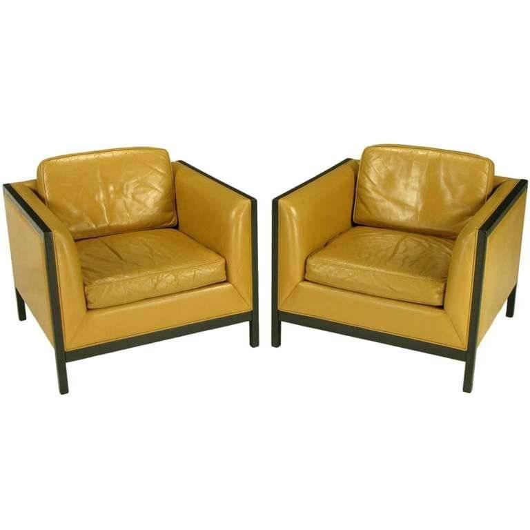 Ebonized Wood Furniture ~ Pair of stow davis leather ebonized wood and aluminium