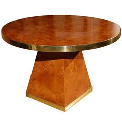 Burl Wood and Brass Dining Table by Pierre Cardin