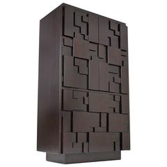 Lacquered Brutalist Tall Cabinet or Chest by Lane Furniture
