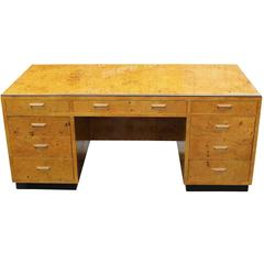 1970s Burl Executive Desk by Henredon