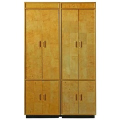 Pair of Henredon Scene Two Olive Burl Cabinets