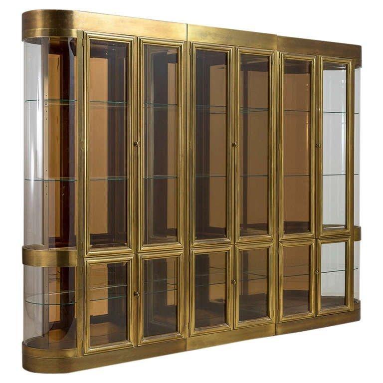Impressive Set of Brass Display or Vitrine Cabinets by Mastercraft