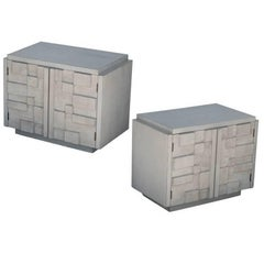 Pair of Brutalist Nightstands by Lane