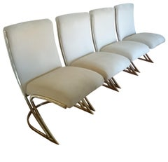 Set of Four Pierre Cardin Brass Dining Chairs