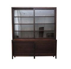 Ebonized Wood and Glass Bookcase Cabinet