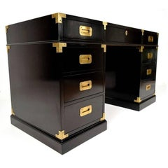 Lacquered Campaign Style Partners Desk