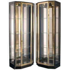Pair of Black Lacquered and Brass Display Cabinets by Henredon