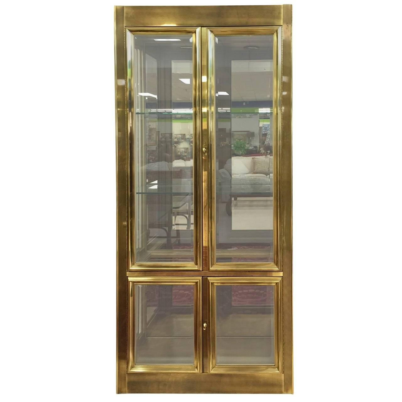 mastercraft brass vitrine display cabinet for sale at 1stdibs