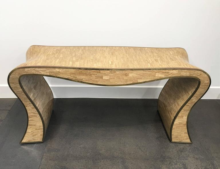 Sculptural Maitland-Smith Tessellated Stone and Brass Inlay Console Table In Excellent Condition For Sale In Dallas, TX