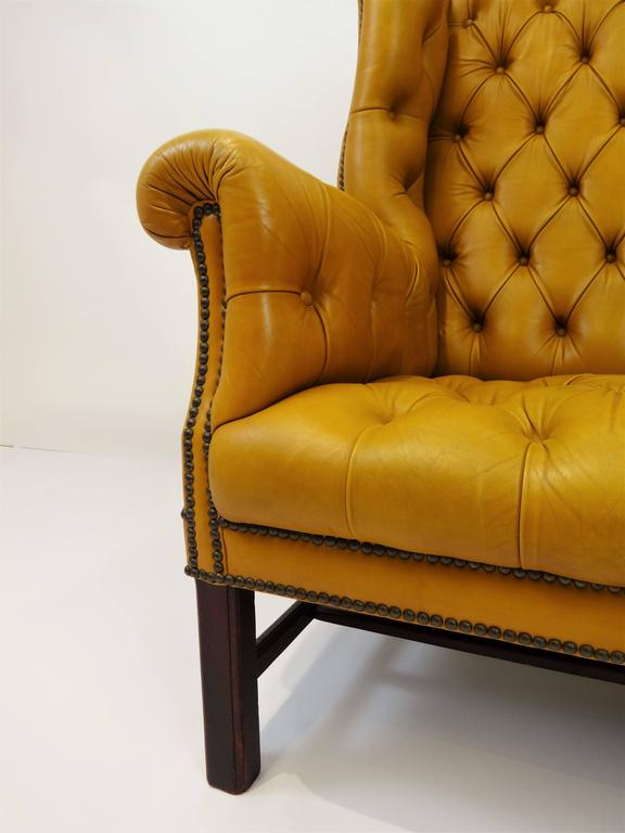 chesterfield wing back tufted leather sofa for sale at 1stdibs. Black Bedroom Furniture Sets. Home Design Ideas