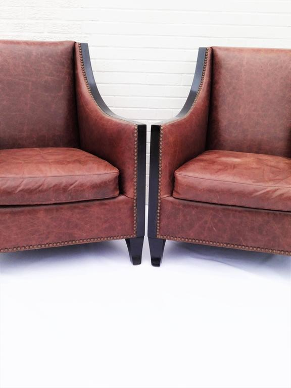 leather high back chairs for sale pair of high back leather club chairs for at 1stdibs 16639 | PairLeatherChairs1 l