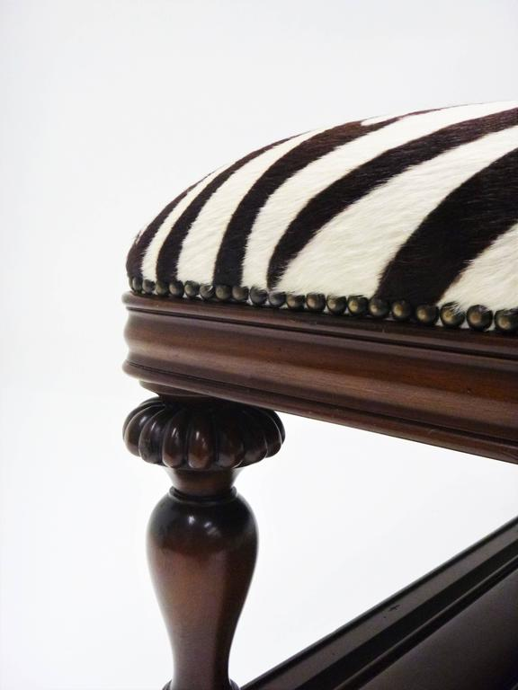 Vintage Zebra Hide Ottoman Coffee Or Cocktail Table For