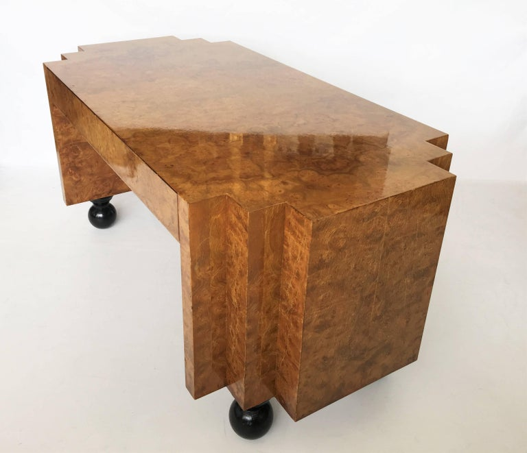 Unusual Burl Wood Writing Table Or Desk With Black Lacquer